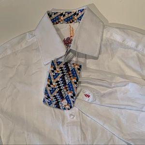 Robert Graham flip cuff white button down shirt S